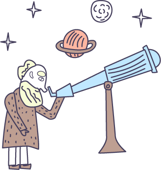 Man with telescope and planets
