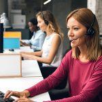 Women working in call center